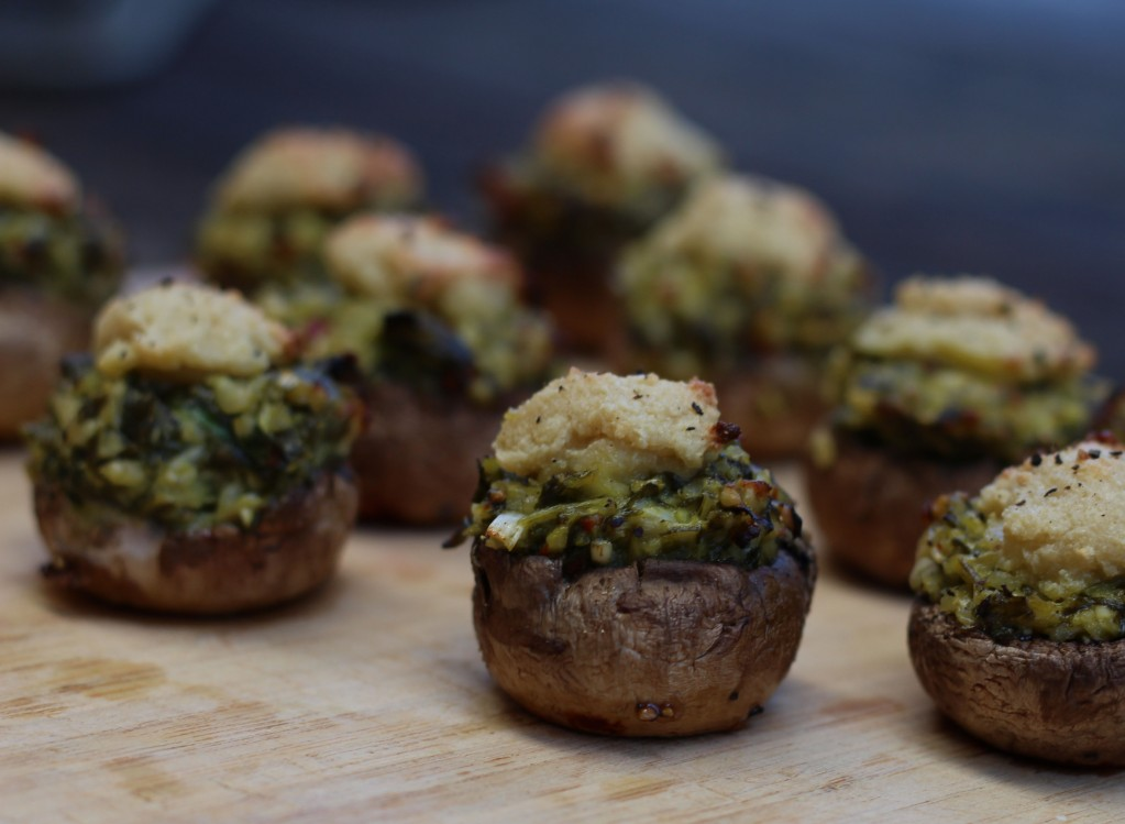 Baked Pesto Mushies with Crunchy Cashew Cheese recommend