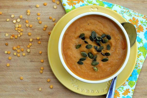 Ginger, cumin, carrot and split pea soup