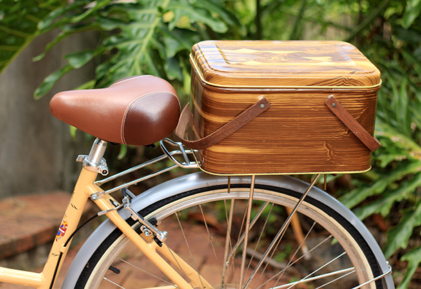 Rear bicycle crate from a vintage picnic basket