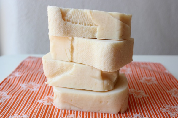 Homemade soap, dried and cured and ready for use.
