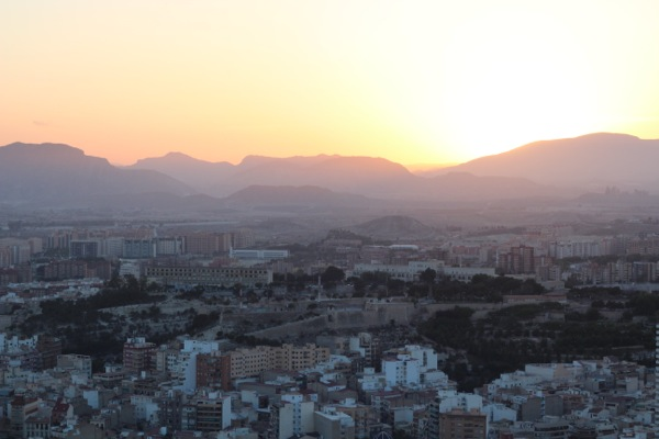 Sunset over the city of Alicante