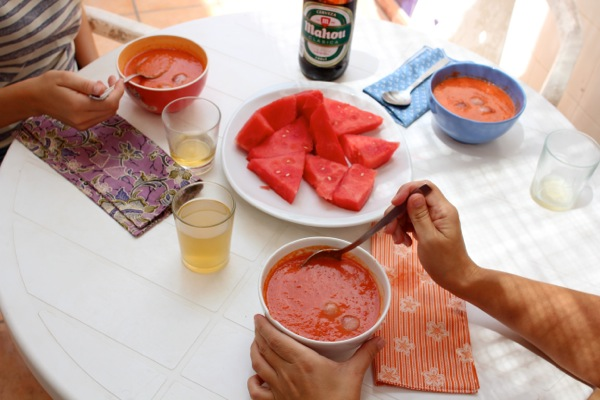 Friends enjoy generous bowls of watermelon gazpacho