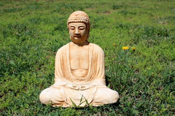 Calm Buddha resting on green grass