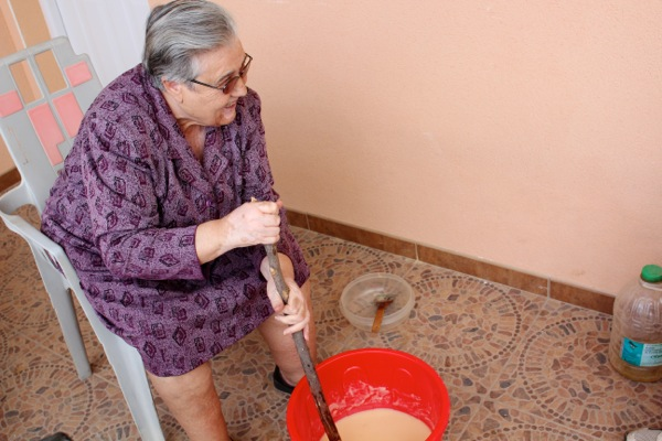 Spanish grandmother Francisca makes homemade Castile soap.