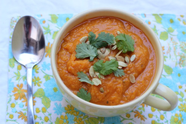 Vegetarian sweet potato and pumpkin soup with extra protein