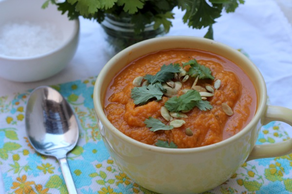Protein-packed pumpkin and sweet potato soup