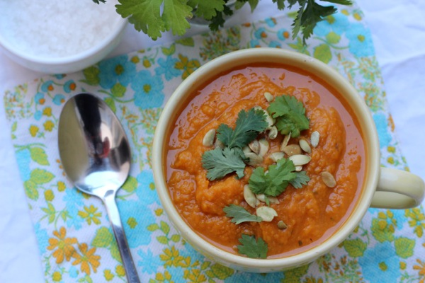 Protein-rich pumpkin and sweet potato vegan soup