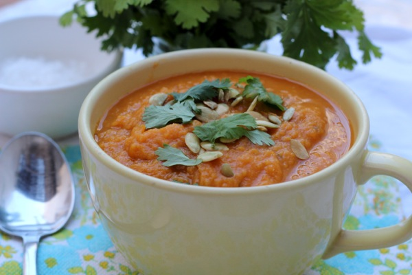 Hearty pumpkin soup with extra protein for vegans
