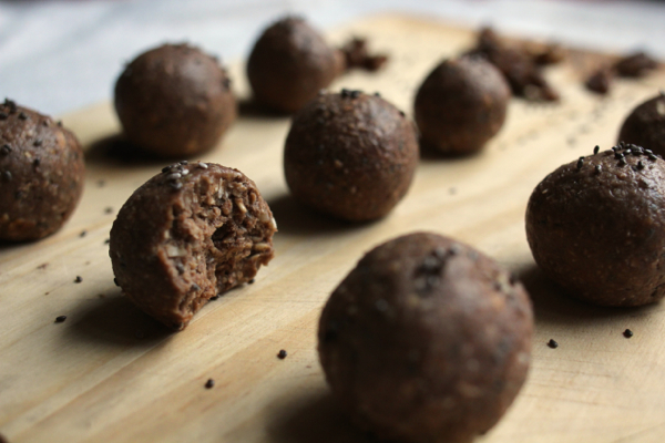 Vegan spiced chocolate carob banana chia bliss balls