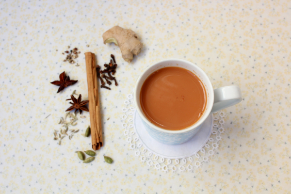 Homemade vegan chai made with seven spices and rooibos tea.