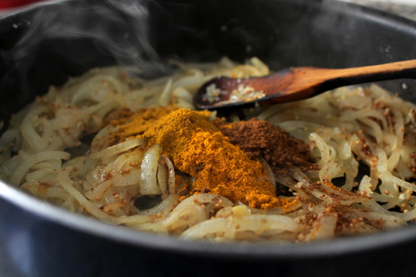 Delicious spices for creamy coconut red lentil dahl