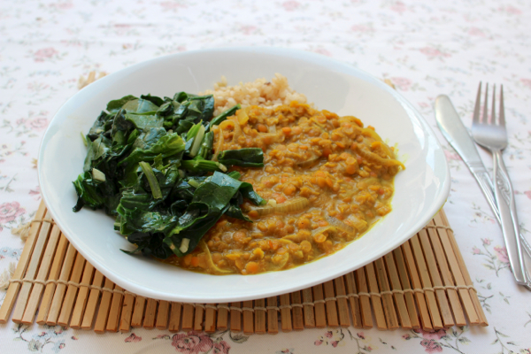 Nutritious and filling coconut red lentil dahl