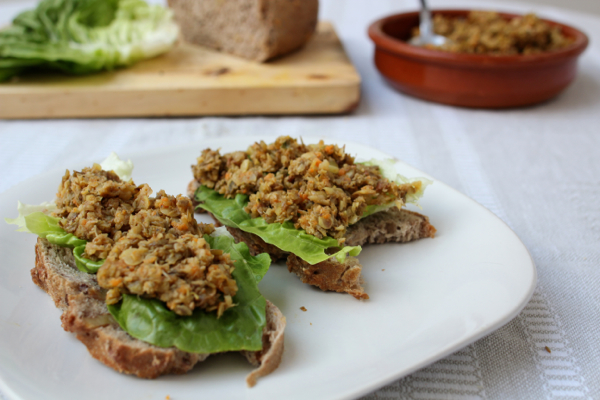 Sprouted lentil dip served over wholemeal bread